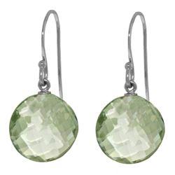 Genuine 12 ctw Green Amethyst Earrings Jewelry 14KT White Gold - REF-24W4Y
