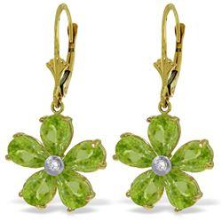 Genuine 4.43 ctw Peridot & Diamond Earrings Jewelry 14KT Yellow Gold - REF-49W8Y