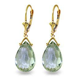 Genuine 10.20 ctw Green Amethyst Earrings Jewelry 14KT Yellow Gold - REF-28X9M