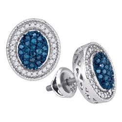 0.50 CTWBlue Color Diamond Oval Cluster Earrings 10KT White Gold - REF-34M4H
