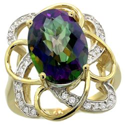 Natural 5.59 ctw mystic-topaz & Diamond Engagement Ring 14K Yellow Gold - REF-59K6R