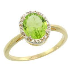 Natural 1.41 ctw Peridot & Diamond Engagement Ring 10K Yellow Gold - REF-20Y9X
