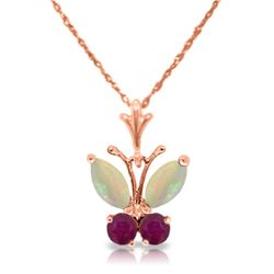 Genuine 0.70 ctw Opal & Ruby Necklace Jewelry 14KT Rose Gold - REF-25Z3N