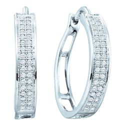 0.20 CTW Diamond Hoop Earrings 10KT White Gold - REF-18M7H