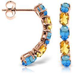 Genuine 2.5 ctw Blue Topaz & Citrine Earrings Jewelry 14KT Rose Gold - REF-37A4K