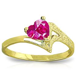 Genuine 0.95 ctw Pink Topaz Ring Jewelry 14KT Yellow Gold - REF-36K2V