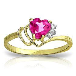 Genuine 0.97 ctw Pink Topaz & Diamond Ring Jewelry 14KT Yellow Gold - REF-30W3Y