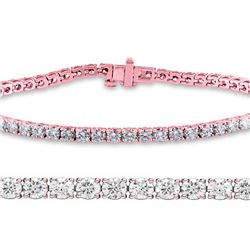 Natural 3.01ct VS-SI Diamond Tennis Bracelet 14K Rose Gold - REF-200R6W