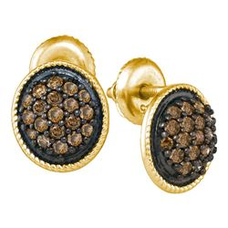 0.50 CTWCognac-brown Color Diamond Cluster Earrings 10KT Yellow Gold - REF-26M9H