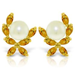 Genuine 3.25 ctw Pearl & Citrine Earrings Jewelry 14KT Yellow Gold - REF-30P2H