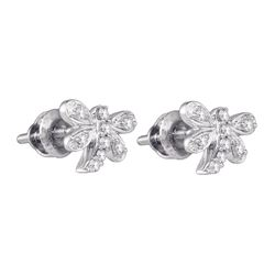 0.10 CTW Diamond Butterfly Dragonfly Bug Stud Earrings 10KT White Gold - REF-13N4F