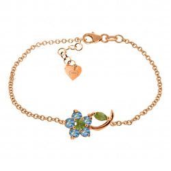 Genuine 0.87 ctw Blue Topaz & Peridot Bracelet Jewelry 14KT Rose Gold - REF-50R5P