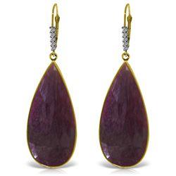 Genuine 40.15 ctw Ruby & Diamond Earrings Jewelry 14KT Yellow Gold - REF-130Z3N