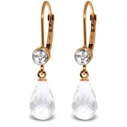 Genuine 4.53 ctw White Topaz & Diamond Earrings Jewelry 14KT Rose Gold - REF-29V3W