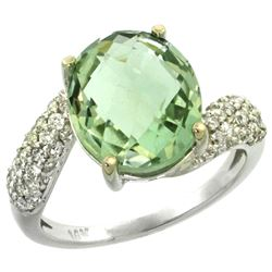 Natural 6.45 ctw green-amethyst & Diamond Engagement Ring 14K White Gold - REF-54X3A