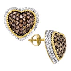 1.3 CTW Cognac-brown Color Diamond Heart Cluster Earrings 10KT Yellow Gold - REF-64N4F