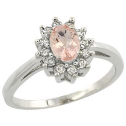 Natural 0.64 ctw Morganite & Diamond Engagement Ring 10K White Gold - REF-40G5M