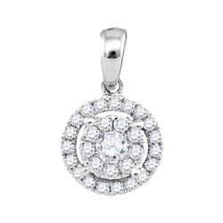 0.36 CTW Diamond Circle Cluster Pendant 14KT White Gold - REF-37W5K