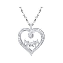 0.08 CTW Diamond Mom Heart Pendant 10KT White Gold - REF-22M4H