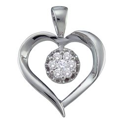 0.25 CTW Diamond Heart Love Cluster Pendant 14KT White Gold - REF-41X9Y