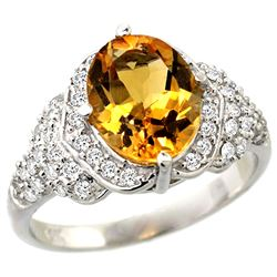 Natural 2.92 ctw citrine & Diamond Engagement Ring 14K White Gold - REF-102R7Z