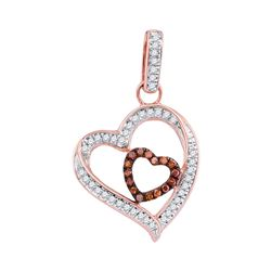 0.16 CTW Red Color Diamond Nested Double Heart Pendant 10KT Rose Gold - REF-16K4W