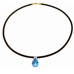 Genuine 6 ctw Blue Topaz Necklace Jewelry 14KT White Gold - REF-30P5H