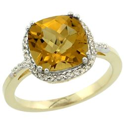 Natural 4.11 ctw Whisky-quartz & Diamond Engagement Ring 10K Yellow Gold - REF-33X3A