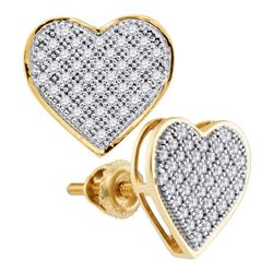 0.25 CTW Diamond Heart Screwback Earrings 10KT Yellow Gold - REF-20F3N