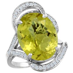 Natural 11.23 ctw lemon-quartz & Diamond Engagement Ring 14K White Gold - REF-98W7K