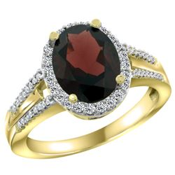 Natural 2.72 ctw garnet & Diamond Engagement Ring 10K Yellow Gold - REF-47F7N