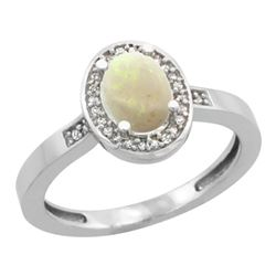 Natural 0.54 ctw Opal & Diamond Engagement Ring 14K White Gold - REF-30F9N