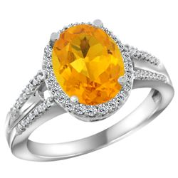 Natural 2.72 ctw citrine & Diamond Engagement Ring 10K White Gold - REF-45A3V