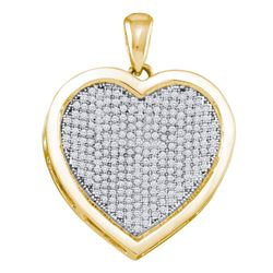 0.75 CTW Diamond Heart Charm Pendant 10KT Yellow Gold - REF-52N4F