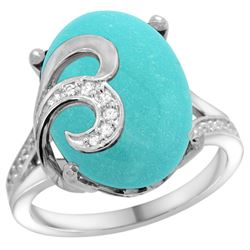 Natural 11.18 ctw turquoise & Diamond Engagement Ring 14K White Gold - REF-111F3N