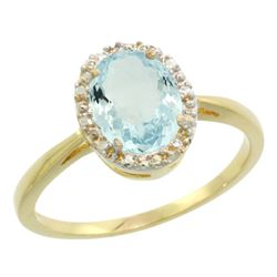Natural 1.05 ctw Aquamarine & Diamond Engagement Ring 10K Yellow Gold - REF-23N7G