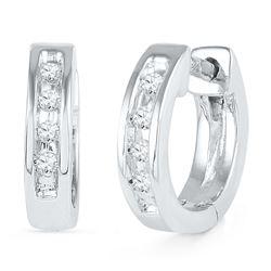0.06 CTW Diamond Single Row Huggie Earrings 10KT White Gold - REF-10X5Y