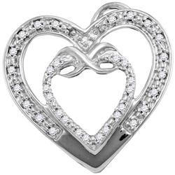 0.10 CTW Diamond Nested Double Heart Love Pendant 10KT White Gold - REF-12M2H