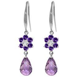 Genuine 5.51 ctw Amethyst & Diamond Earrings Jewelry 14KT White Gold - REF-47M4T