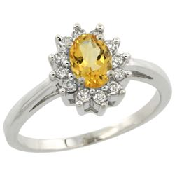 Natural 0.67 ctw Citrine & Diamond Engagement Ring 14K White Gold - REF-48F6N
