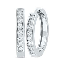 0.50 CTWDiamond Hoop Earrings 10KT White Gold - REF-49W5K