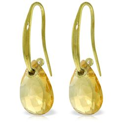 Genuine 8 ctw Citrine Earrings Jewelry 14KT Yellow Gold - REF-36A8K