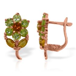 Genuine 2.12 ctw Citrine & Peridot Earrings Jewelry 14KT Rose Gold - REF-36H8X