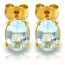 Genuine 1.80 ctw Aquamarine Earrings Jewelry 14KT Yellow Gold - REF-21A2K