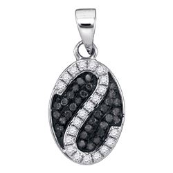 0.25 CTW Black Color Diamond Oval Cluster Pendant 10KT White Gold - REF-16M4H