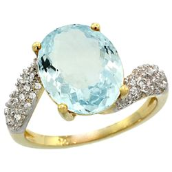 Natural 6.45 ctw aquamarine & Diamond Engagement Ring 14K Yellow Gold - REF-85M4H