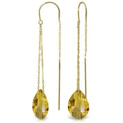 Genuine 6 ctw Citrine Earrings Jewelry 14KT Yellow Gold - REF-21M9T