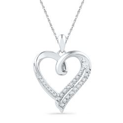 0.10 CTW Diamond Heart Outline Pendant 10KT White Gold - REF-18N2F