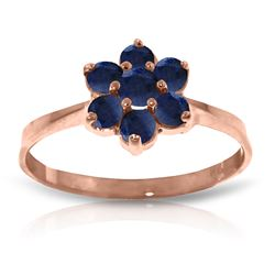Genuine 0.66 ctw Sapphire Ring Jewelry 14KT Rose Gold - REF-31Z4N