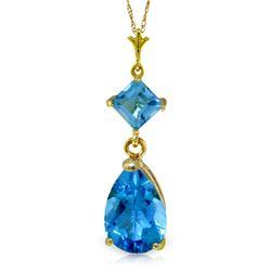 Genuine 2 ctw Blue Topaz Necklace Jewelry 14KT Yellow Gold - REF-24X3M